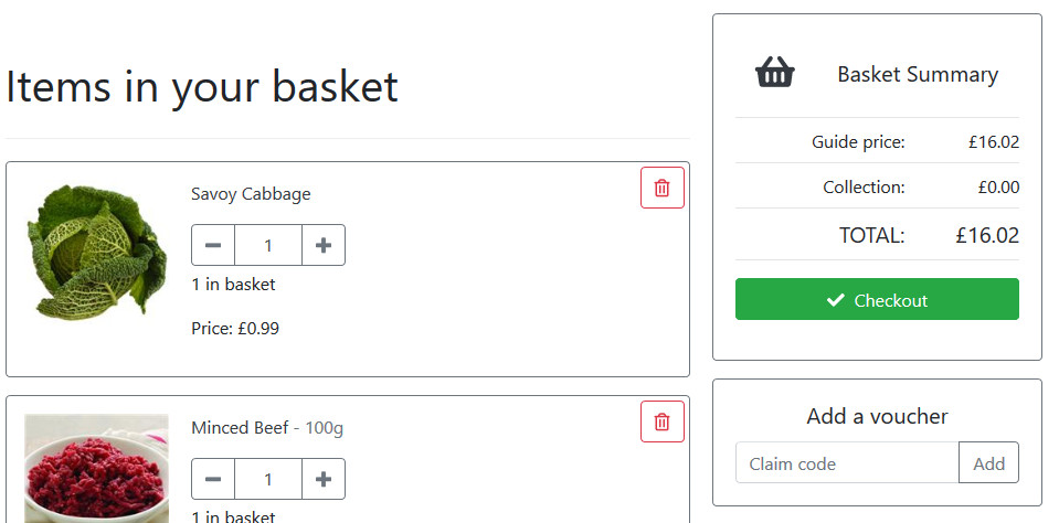 Basket items in the FoodCommerce default theme