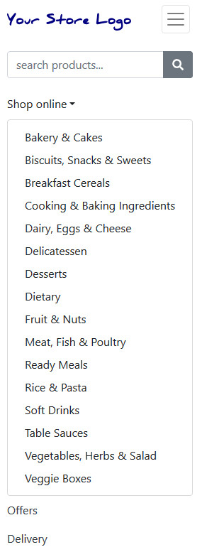 Categories in the FoodCommerce default theme