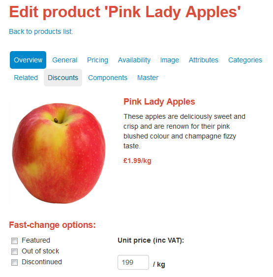 edit product pink lady apple