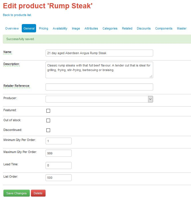 change product name in FoodCommerce