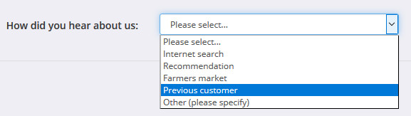 The updated 'HowDidYouHearAboutUs' drop-down box on the customer registration page.