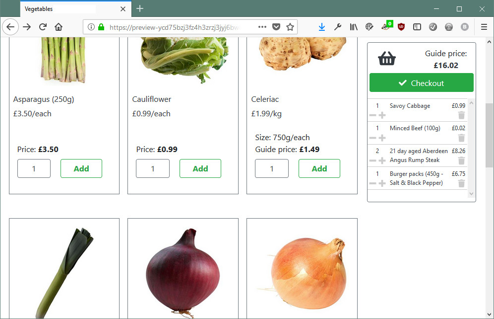 Sticky basket in the FoodCommerce default theme