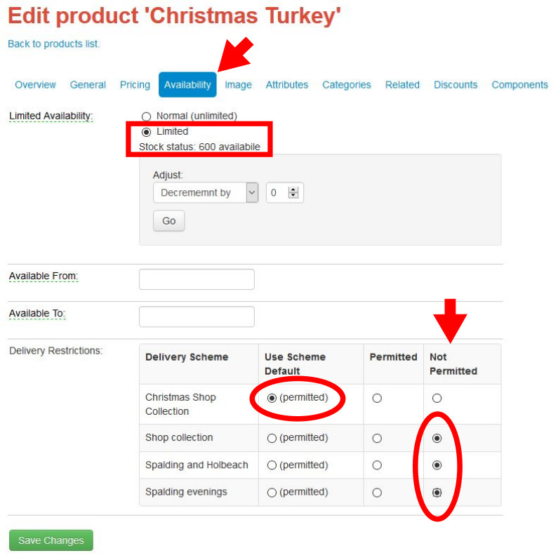 Controlling the availability of turkeys in your online shop